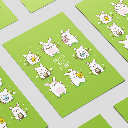 Huevos De Pascua Caza Chibi Conejitos A2 Cartel Pvc Fiesta Decoración De La Muestra 59Cm X 42Cm