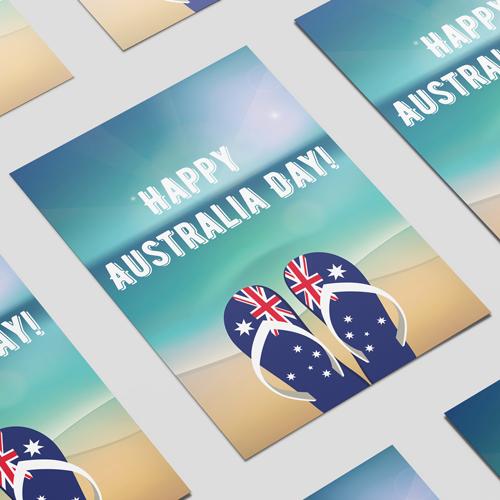 Feliz Día De Australia Chanclas A2 Cartel Pvc Decoración De La Muestra Del Partido 59Cm X 42Cm