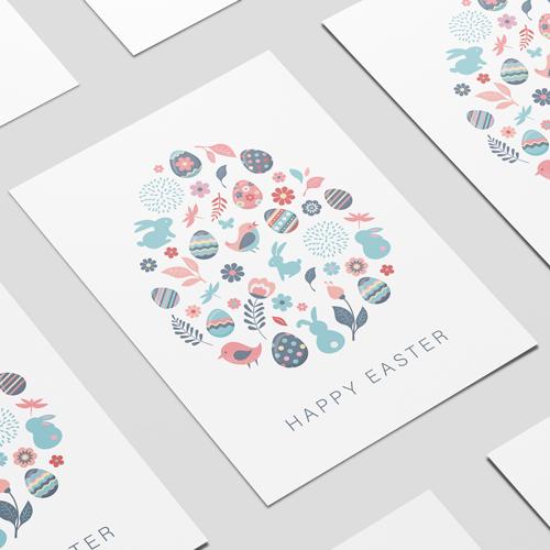 Pastel De Aves De Pascua Felices Conejitos Huevos Signo De Parte Del Cartel Del Pvc A2 Decoración De 59Cm X 42Cm