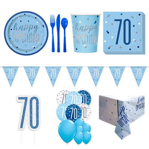 Azul Glitz Paquete De Fiesta De Lujo Para 16 Personas Para El 70 Cumpleaños