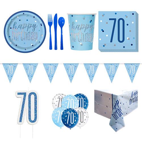 Paquete De Fiesta De Lujo Para 8 Personas De 70 Cumpleaños Azul Brillante