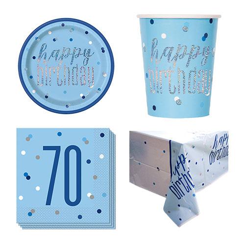 Paquete De Fiesta De Valor Para 8 Personas De 70 Cumpleaños Azul Brillante