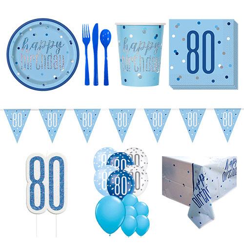 Azul Brillo 80 Cumpleaños Paquete De Fiesta De Lujo Para 16 Personas