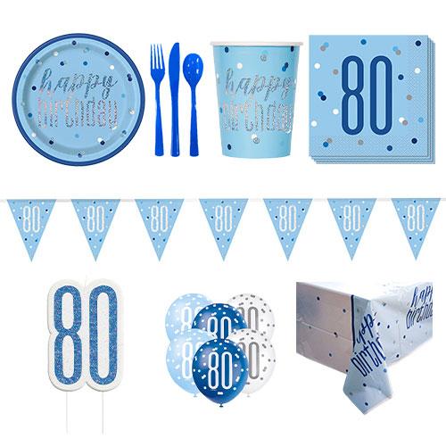 Azul Glitz 80 Cumpleaños Paquete De Fiesta De Lujo Para 8 Personas