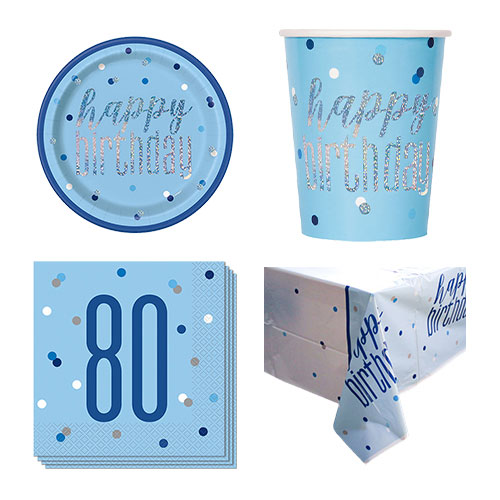 Paquete De Fiesta De Valor Para 8 Personas De 80 Cumpleaños Azul Brillante
