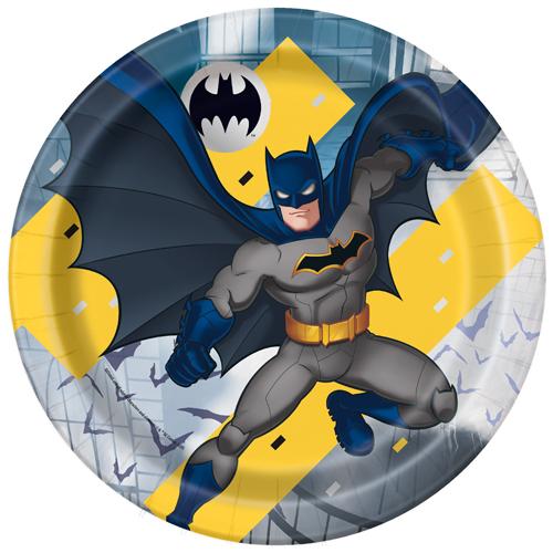 Platos De Papel Redondos Batman 22Cm - Paquete De 8