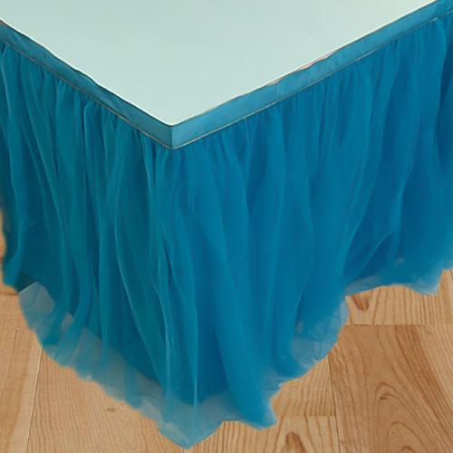 Falda De Mesa De Tul Azul De Lujo 180Cm X 80Cm
