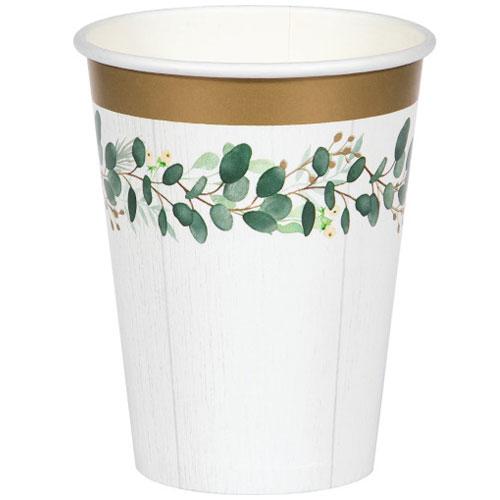 Vasos De Papel Verde Eucalipto 354Ml - Paquete De 8