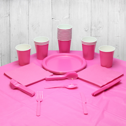 Paquete De Fiesta Rosa Fuerte Para 14 Personas