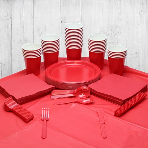 Paquete De Fiesta Rojo Para 56 Personas