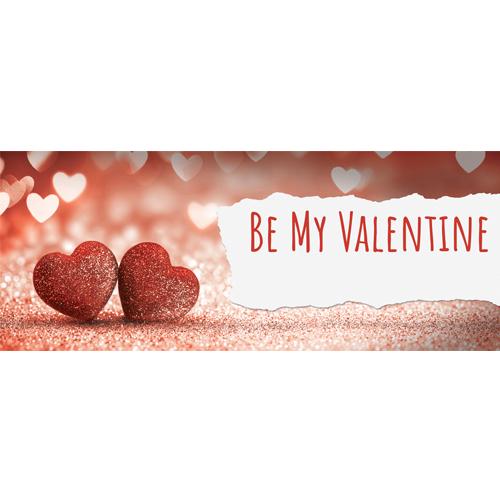 Be My Valentine Glitter Hearts Pvc Party Sign Decoración 60 Cm X 25 Cm