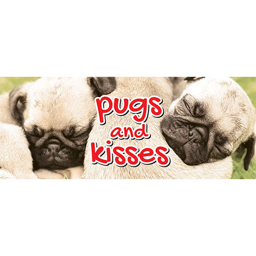 Pugs & Kisses San Valentín Pvc Fiesta Letrero Decoración 60Cm X 25Cm