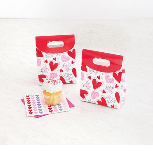 Cajas De Regalo De Papel De Corazones Brillantes De San Valentín - Paquete De 4