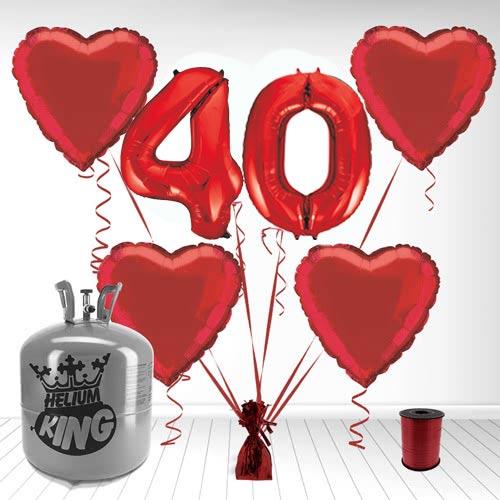 Paquete De Gas De Helio Y Globo Supershape De Aluminio De 40 Aniversario.