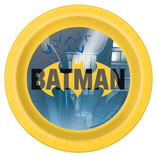 Platos De Papel Redondos Batman 17Cm - Paquete De 8