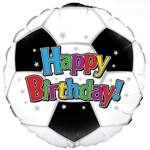 Balón De Helio De Papel De Aluminio Redondo De Feliz Cumpleaños De Fútbol 46Cm / 18 In