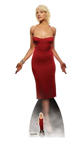 Número Seis Vestido Rojo Tricia Helfer Battlestar Galactica Cartón De Tamaño Natural Recorte 180Cm