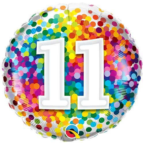 11 ° Cumpleaños Confeti De Arco Iris Redondo Globo De Helio Qualatex 46Cm / 18 In