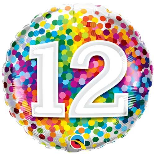 12 Cumpleaños Confeti Arcoíris Globo De Helio Qualatex De Lámina Redonda 46Cm / 18 In