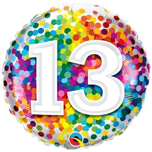 13 ° Cumpleaños Confeti Arcoíris Globo De Helio Qualatex De Lámina Redonda 46Cm / 18 In
