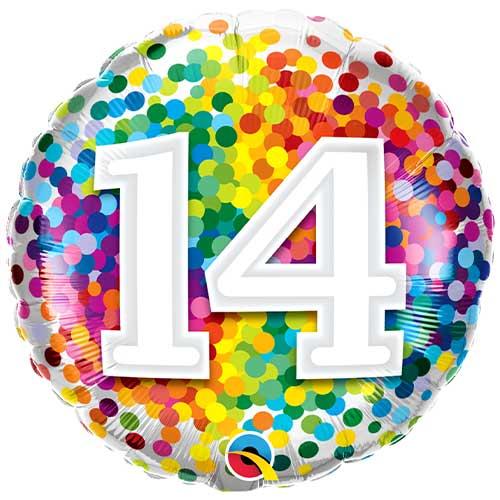 14 Cumpleaños Confeti De Arco Iris Redondo Globo De Helio Qualatex 46Cm / 18 In