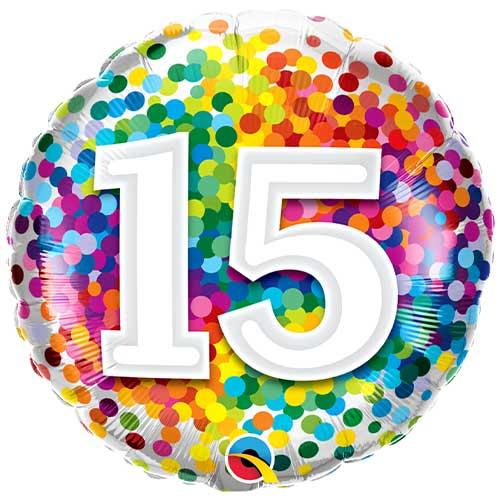 15 Cumpleaños Confeti Arcoíris Globo De Helio Qualatex De Lámina Redonda 46Cm / 18 In