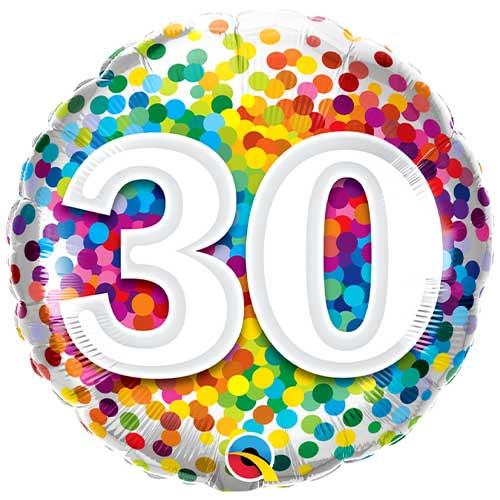 30 Cumpleaños Confeti De Arco Iris Redondo Globo De Helio Qualatex 46Cm / 18 In