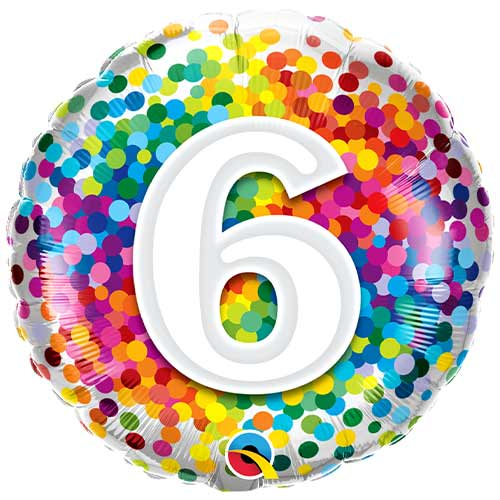 6To Cumpleaños Arco Iris Confeti Redondo Helio Qualatex Globo 46Cm / 18 In