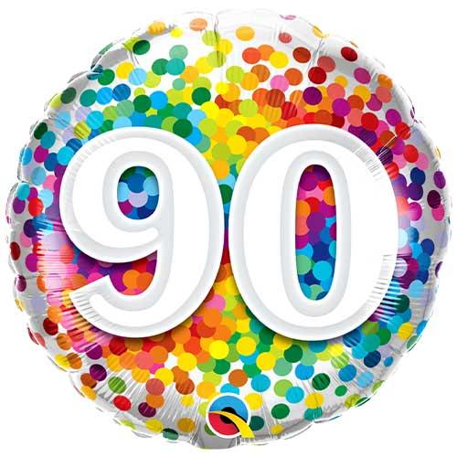 90 Cumpleaños Confeti Arcoíris Globo De Helio Qualatex De Lámina Redonda 46Cm / 18 In
