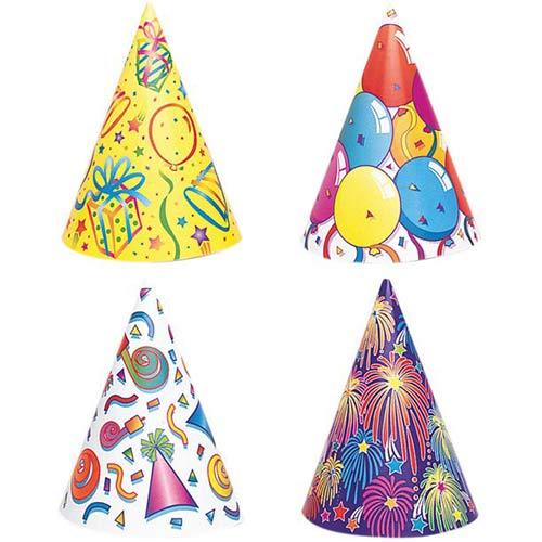 Sombreros De Cono De Fiesta De Cumpleaños Surtidos - Paquete De 8