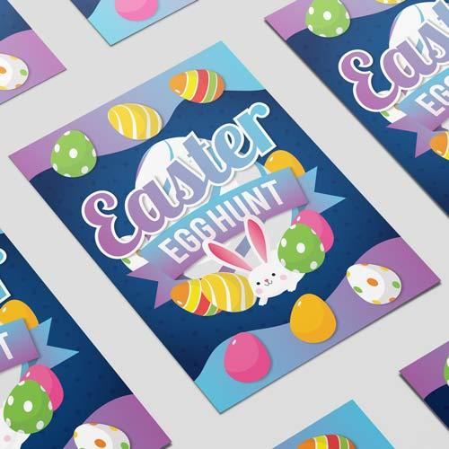 Caza De Huevos De Pascua Colorido Cartel A3 Pvc Fiesta Letrero Decoración 42 Cm X 30 Cm