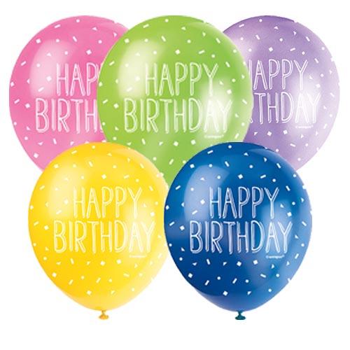 Feliz Cumpleaños Globos De Látex Surtidos Biodegradables De 30 Cm / 12 Pulgadas - Paquete De 5