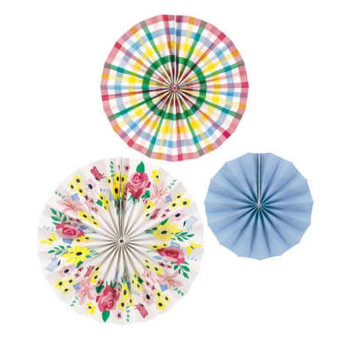 Abanicos De Papel Floral Pastel Decoraciones Colgantes - Paquete De 3