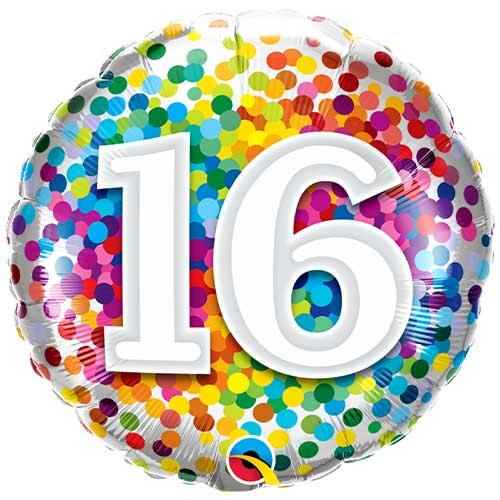 16 Cumpleaños Confeti De Arco Iris Redondo Globo De Helio Qualatex 46Cm / 18 In