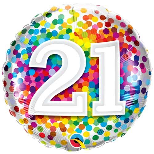21 Cumpleaños Confeti De Arco Iris Redondo Globo De Helio Qualatex De Papel De Aluminio 46Cm / 18 In