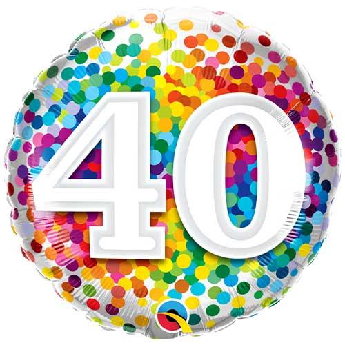40.O Cumpleaños Arco Iris Confeti Globo De Helio Qualatex De Lámina Redonda 46Cm / 18 In