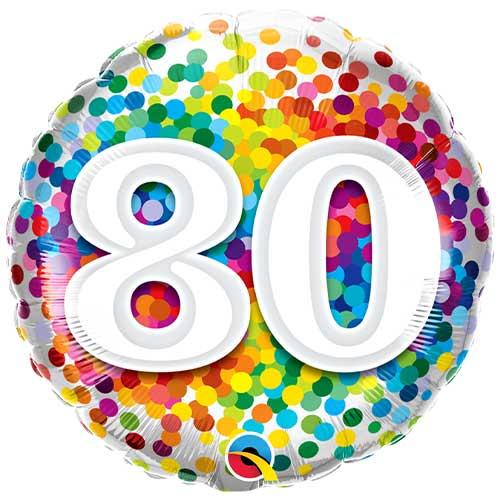80.O Cumpleaños Confeti Arcoíris Globo De Helio Qualatex De Lámina Redonda 46Cm / 18 In