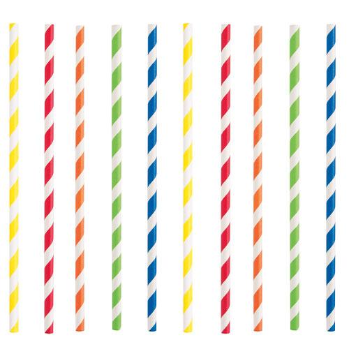 Pajitas De Papel Ecológico A Rayas De Colores Surtidos - Paquete De 40