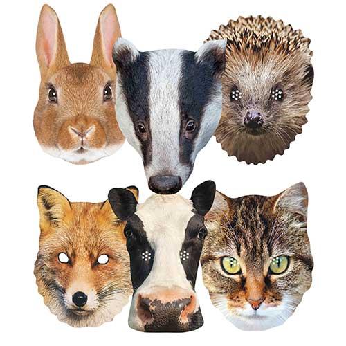 Mascarillas De Cartón Con Animales Del Campo Británico - Paquete De 6