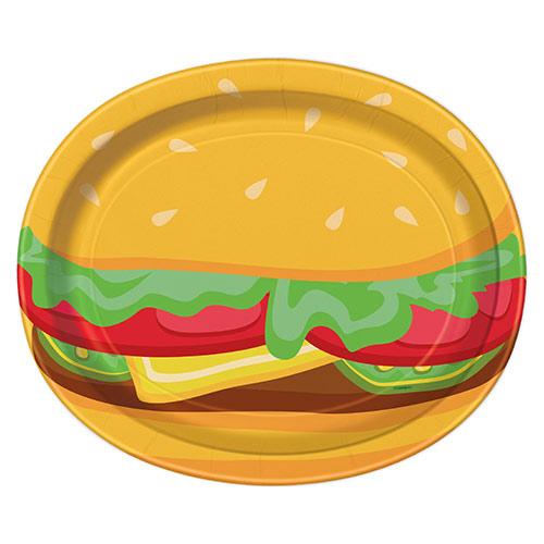 Platos De Papel Ovalados Burger Bbq 30Cm - Paquete De 8