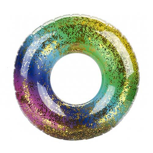 Anillo De Natación Inflable Arcoíris Lleno De Purpurina 60Cm