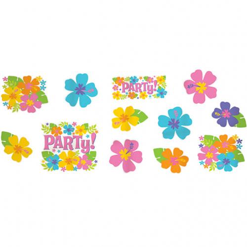 Decoraciones De Mini Recortes De Cartón De Hibisco Hawaiano - Paquete De 12