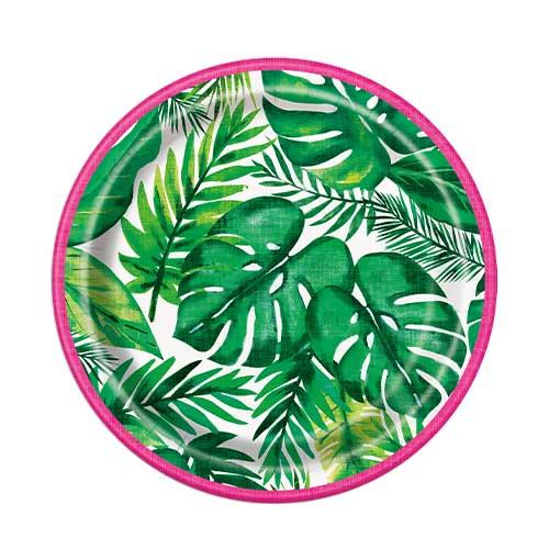 Platos De Papel Redondos De Palmera Tropical Luau 17Cm - Paquete De 8