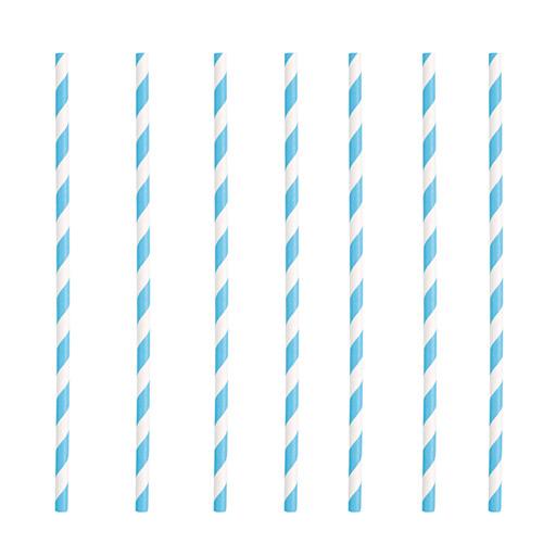Pajitas De Papel Ecológicas A Rayas Azul Claro - Paquete De 10