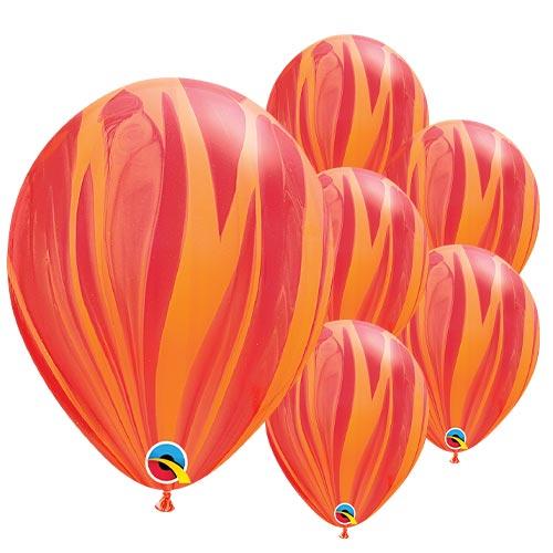 Globos De Qualatex De Látex Superagate Rojo Y Naranja 28Cm / 11 In - Paquete De 25
