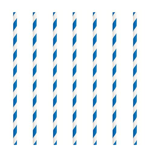 Pajitas De Papel Ecológicas A Rayas Azul Real - Paquete De 10