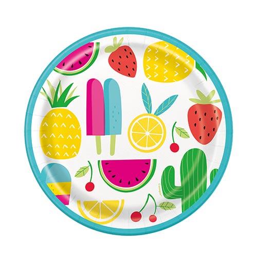 Platos De Papel Redondos Dulces Y Suculentos De Verano 18Cm - Paquete De 8