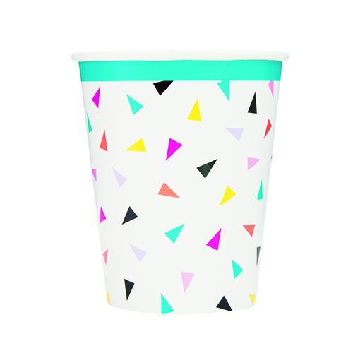 Vasos De Papel Triangular Confeti 270Ml - Paquete De 8