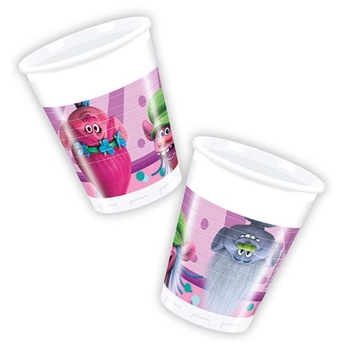 Vasos De Plástico Fiesta Trolls 200Ml - Paquete De 8