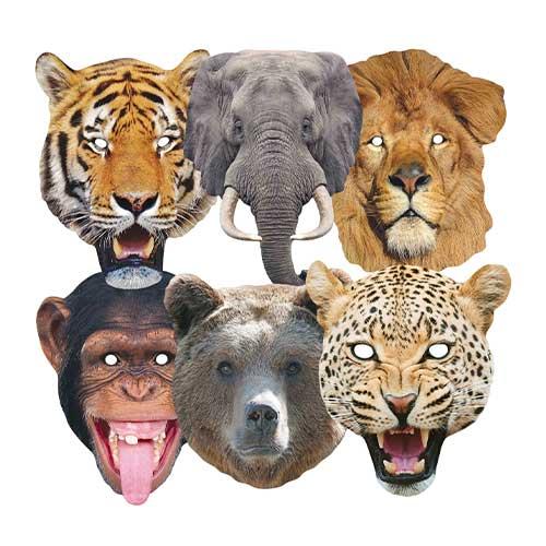 Mascarillas De Cartón De Animales Salvajes - Paquete De 6